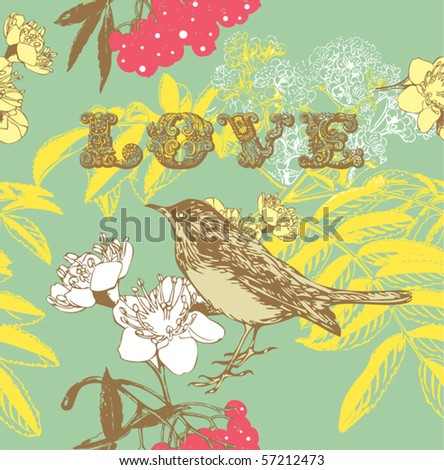 flower seamless pattern with birds and berry - stock vector