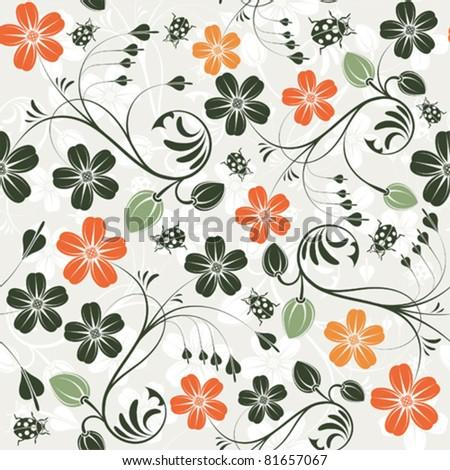 Flower seamless pattern with ladybug, element for design, vector illustration - stock vector