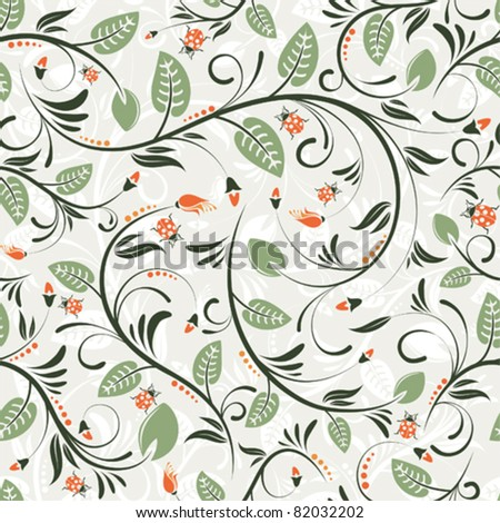 Flower seamless pattern with ladybug, element for design, vector illustration
