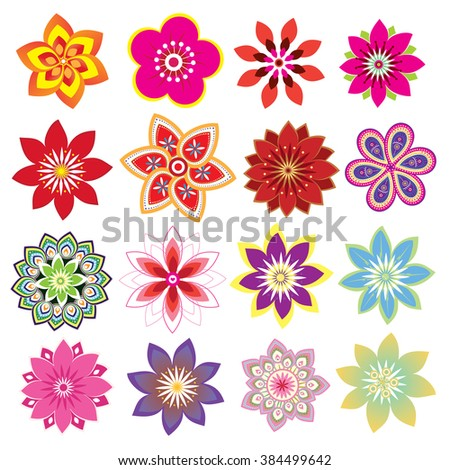 Flower set - stock vector