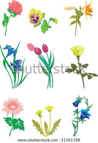 Flower set in color 01 - stock vector