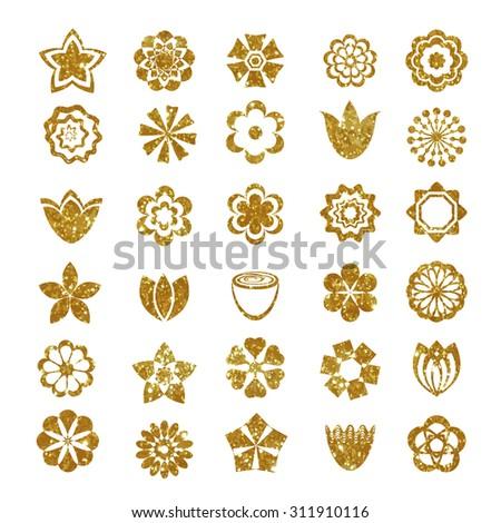Flower set made of gold glitter texture.  - stock vector