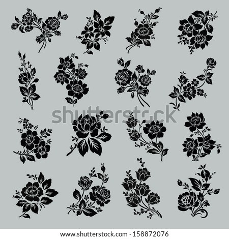 Flower set. Vintage rose collection with , floral elements, buds and leafs - stock vector