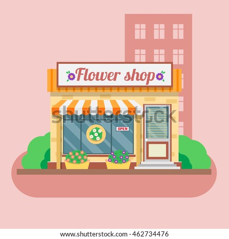 Flower shop facade. Vector illustration in flat style.