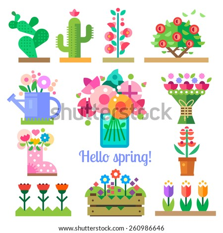 Flower shop. Hello spring and summer. Tulips, cactus, roses, peonies. Vector flat  illustrations, icons and sprites for game - stock vector