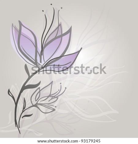 Flower sketch / Elegant floral background - stock vector