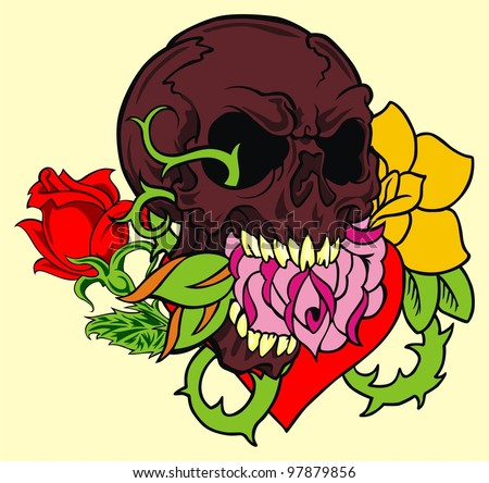 flower skull - stock vector