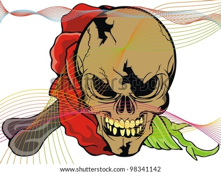 flower skull - stock vector