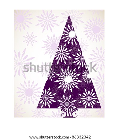 flower snowflake christmas tree purple - stock vector