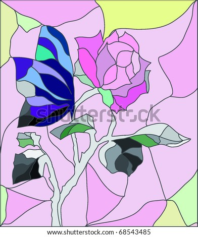 Flower stained-glass vector - stock vector