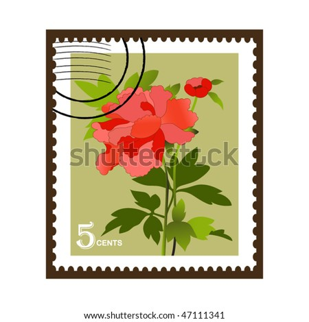 flower stamp - stock vector