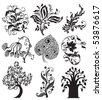 Flower tattoo vintage design. Floral decoration elements - stock vector