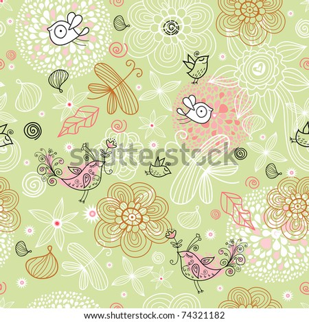 Flower texture with birds