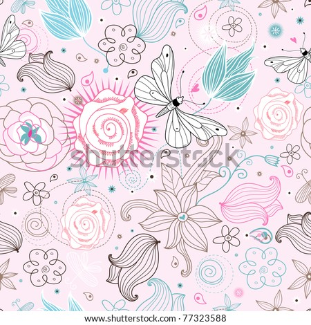 Flower texture with butterflies - stock vector