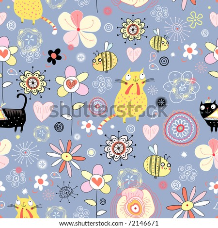 Flower texture with cats - stock vector
