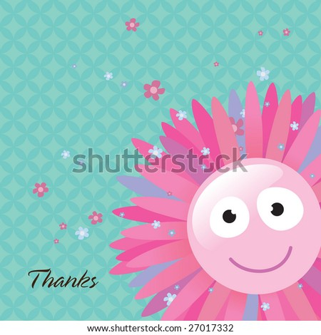 Flower Thank You Card - stock vector