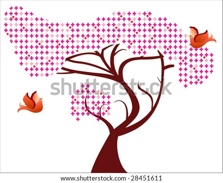 flower tree with berries and birds