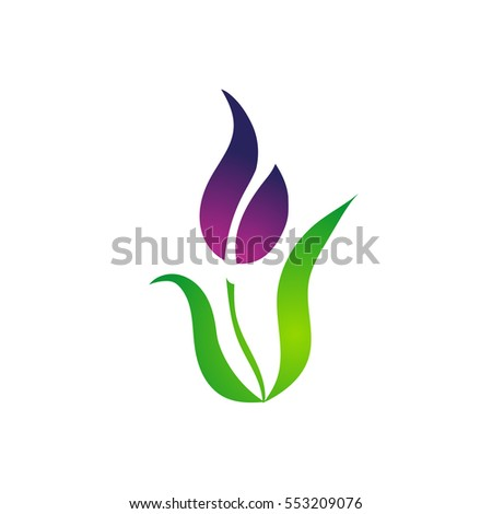 beautiful purple lily flower green nature stock vector, Beautiful flower