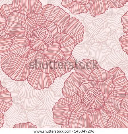 Flower vector seamless pattern. - stock vector