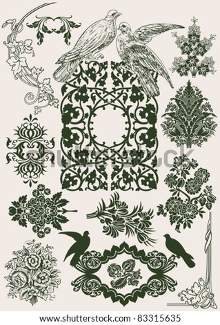 Flower Vintage Royal Design Elements And Doves. - stock vector