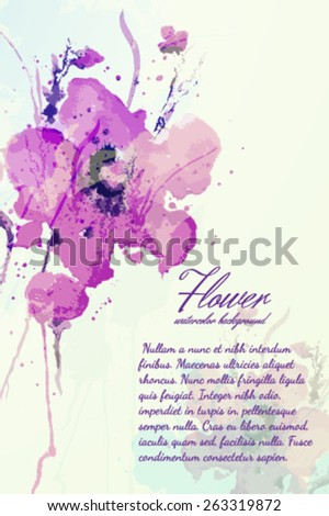 Flower watercolor background - stock vector