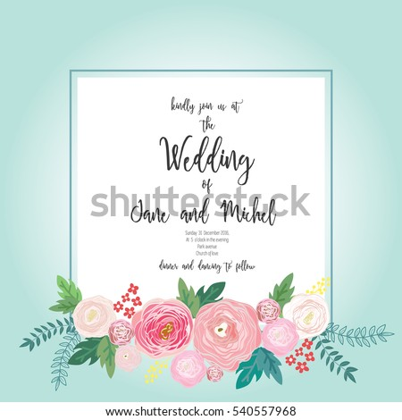 Flower Wedding Invitation Card Template Pastel Stock Vector