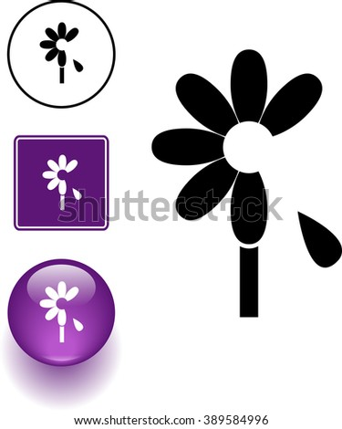 flower with falling petal symbol sign and button - stock vector