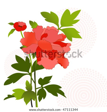 flower with foliage - stock vector