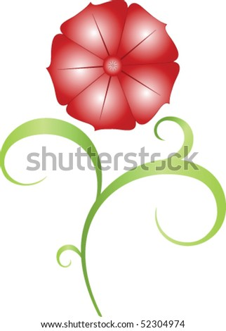 Flower with leaves - stock vector