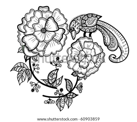 flower with the bird in the ethnic style on a white background - stock vector