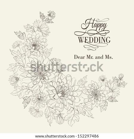 Flower wreath of chrysanthemum. Vector illustration. - stock vector