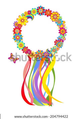 Flower wreath with colorful strips - stock vector
