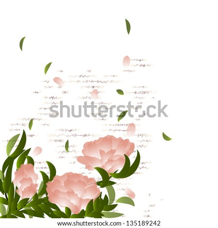 Flowering branch on grunge background. Summer background - stock vector