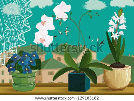 Flowering hyacinth, orchids and violets in flower pots at window. Each object is isolated. EPS8 - stock vector