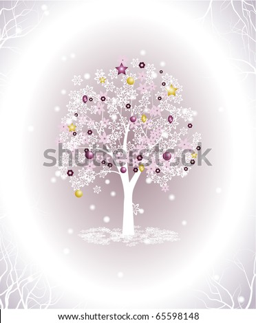 Flowering new year tree - stock vector