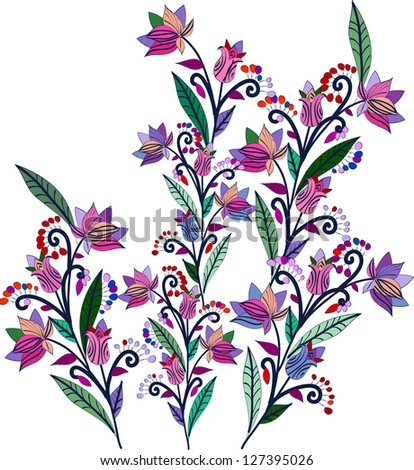 flowers and berries in the ethnic style on a white background - stock vector