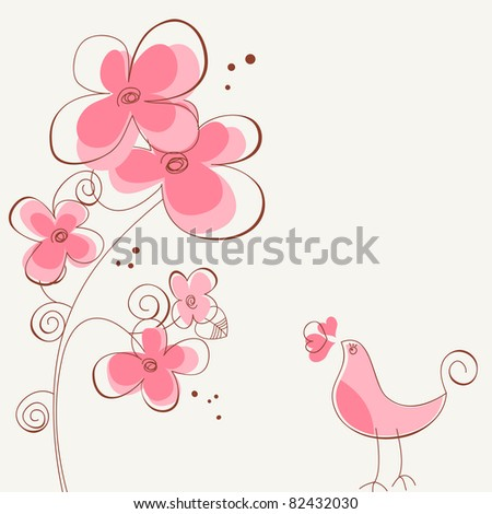 Flowers and bird love story - stock vector