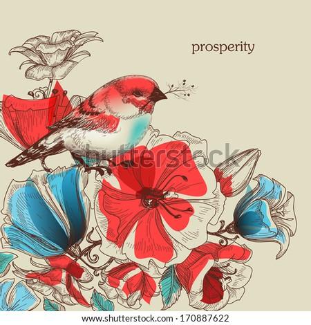 Flowers and bird vector illustration, greeting card, prosperity symbol - stock vector
