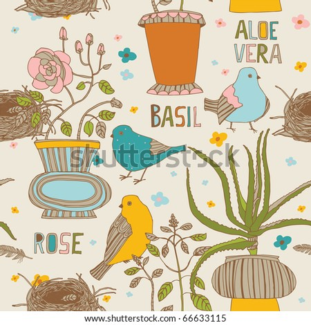 flowers and birds seamless pattern - stock vector