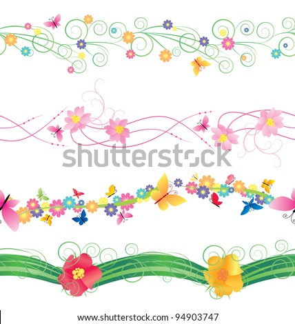 Flowers And Butterflies Borders Vector Isolated On White For Easter Mothers Day