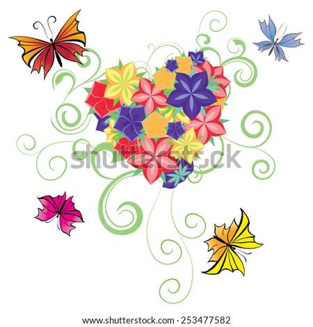 flowers and butterflies heart  - stock vector