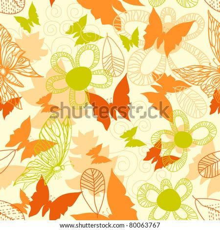 Flowers and butterflies seamless pattern - stock vector