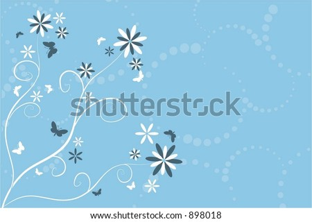 Flowers and butterflies - vector