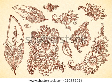 Flowers and feathers henna tattoo vector designs set - stock vector