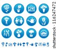 Flowers and gardening icons - stock vector