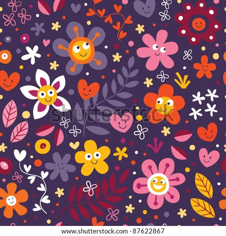 flowers and hearts seamless pattern - stock vector