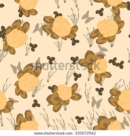 Flowers and leafs - seamless pattern