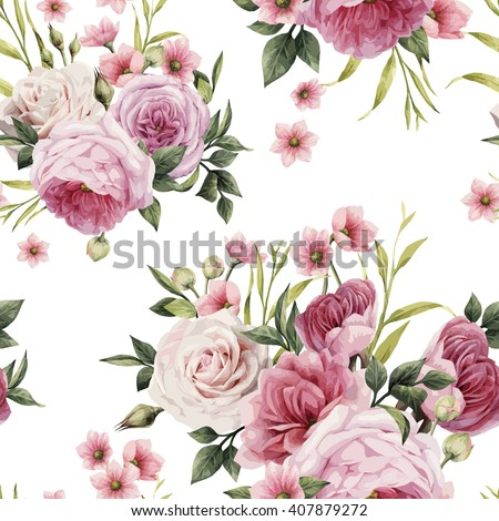 Flowers and leaves, watercolor, can be used as greeting card, invitation card for wedding, birthday and other holiday and  summer background. Vector illustration.  - stock vector