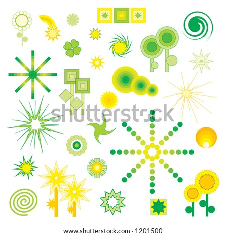 Flowers and Stars - vector shapes (each symbol is on different layer) - stock vector