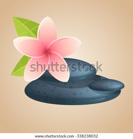 flowers and stones for Spa. template for flyers, leaflets, stickers and signs. Close up view of spa theme objects on background. vector illustration - stock vector